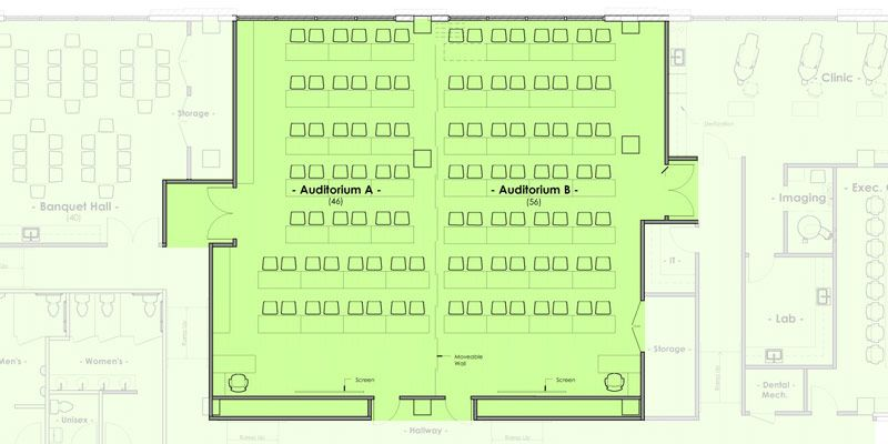 Mountain West Dental Institute (MWDI) Auditoriums A and B combined layout