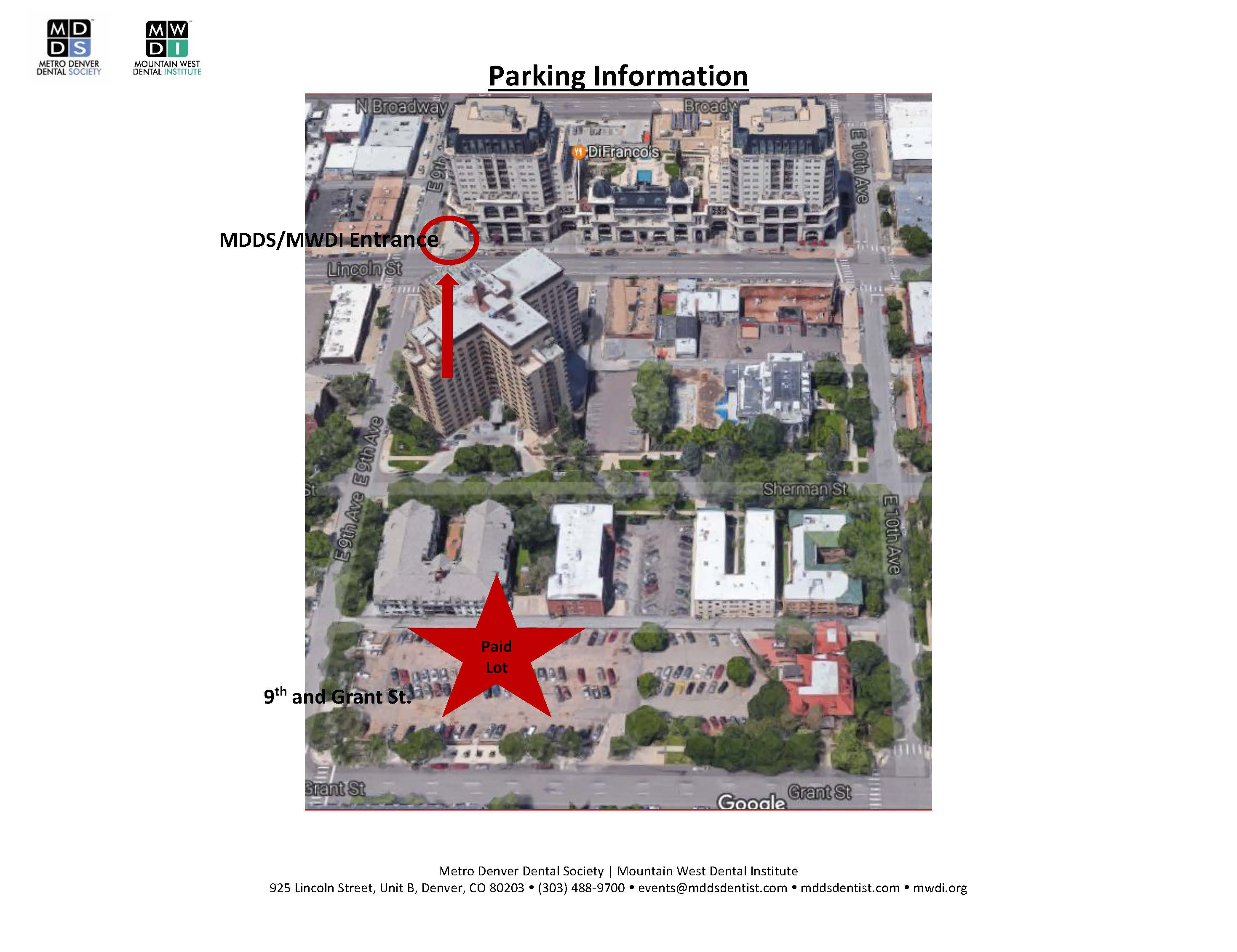 Mountain West Dental Institute (MWDI) Parking Map